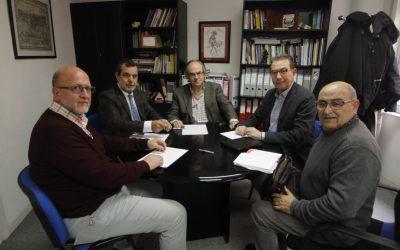 El presidente de ASALMA D. Jesús Martín y  D. Julián Menéndez, se reúnen con los secretarios generales de UGT Madrid D. Luis Miguel López y de CC.OO. de Madrid D. Jaime Cedrún.